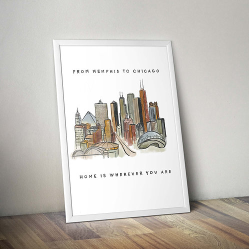 """digital print / """"from memphis to chicago, home is wherever you are"""""""
