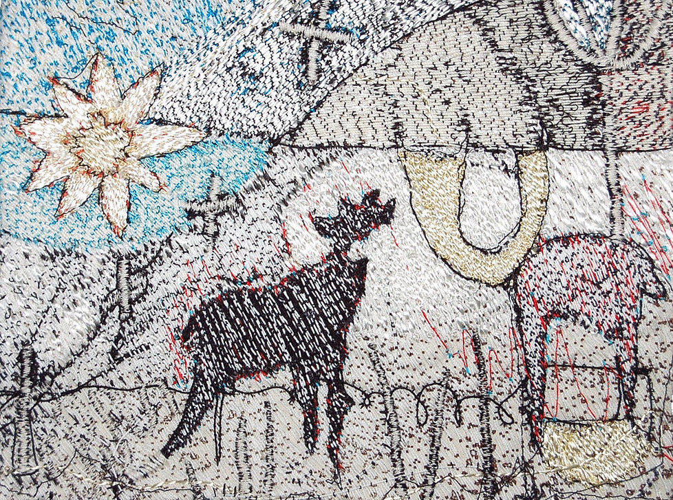 Contemporay embroidery in rayon, cotton and crochet threads by textile artist Jenni Cadman