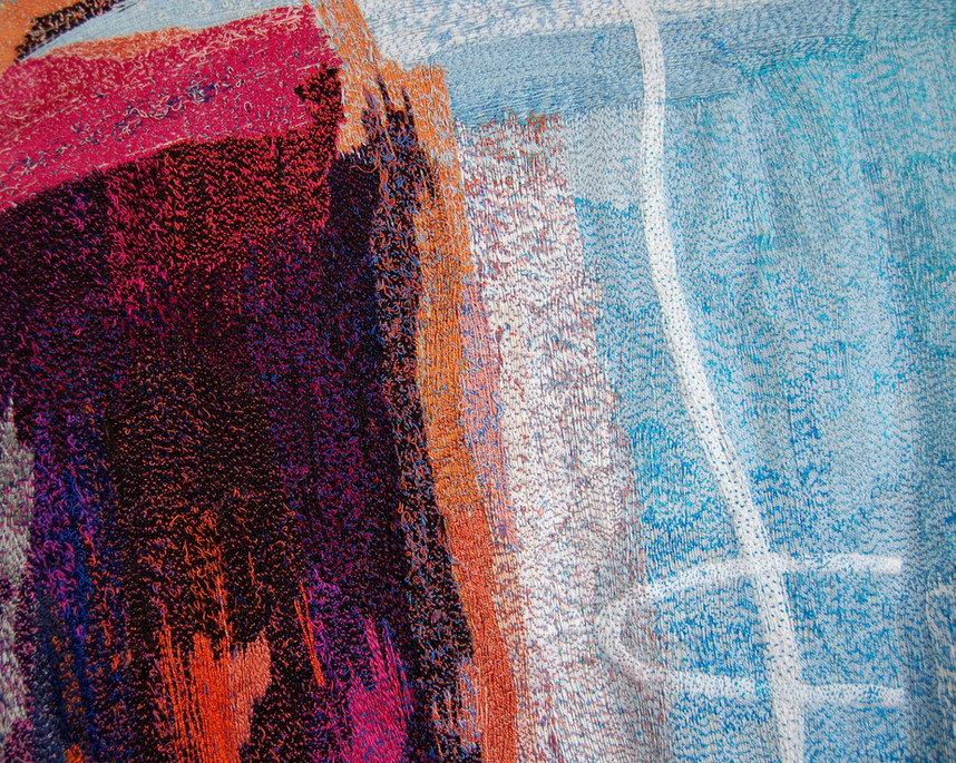 """""""Coast"""" detail of embroidered wall hanging by Jenni Cadman. Hand embroidery and rayon threads free-machined on calico."""
