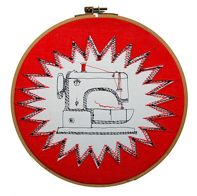 Hoop Art Thread Drawing using the technique of free machine embroidery