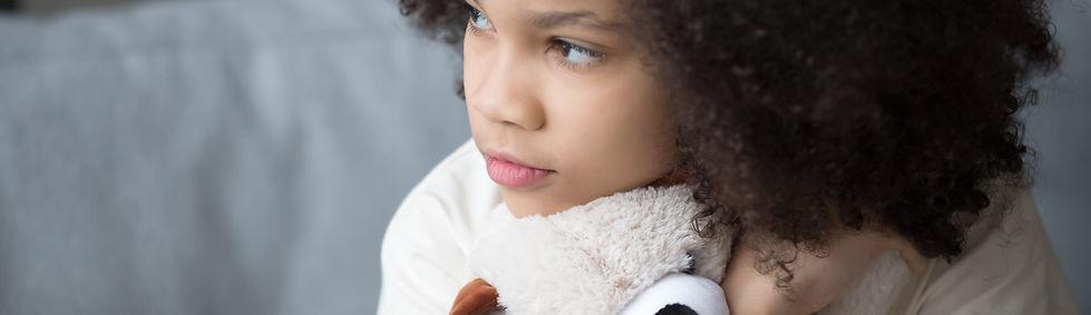 Close up upset stray biracial kid girl s