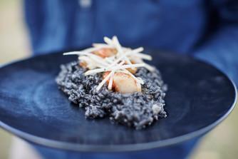 Squid ink + scallop risotto