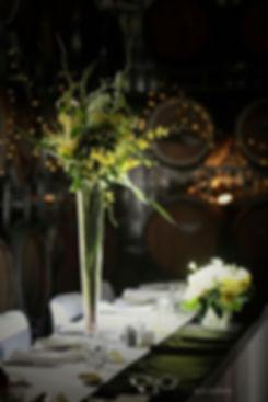 Stunning floral arrangements in the Barrel Room