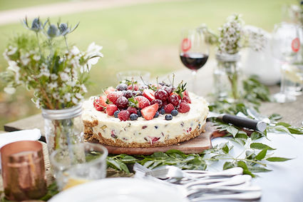 White Chocolate and Pistachio Cheesecake with fresh berries