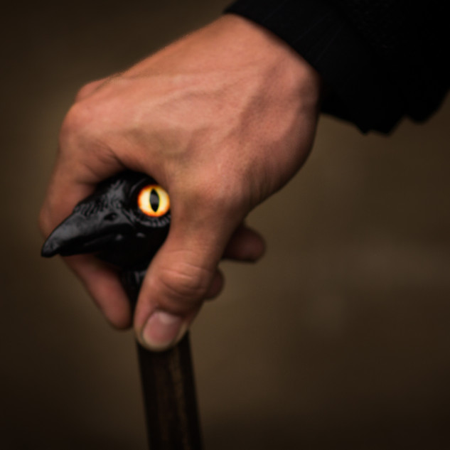 Hyde's Cane - detail: Handsculpted for us by our fantastic prop's master, Renee