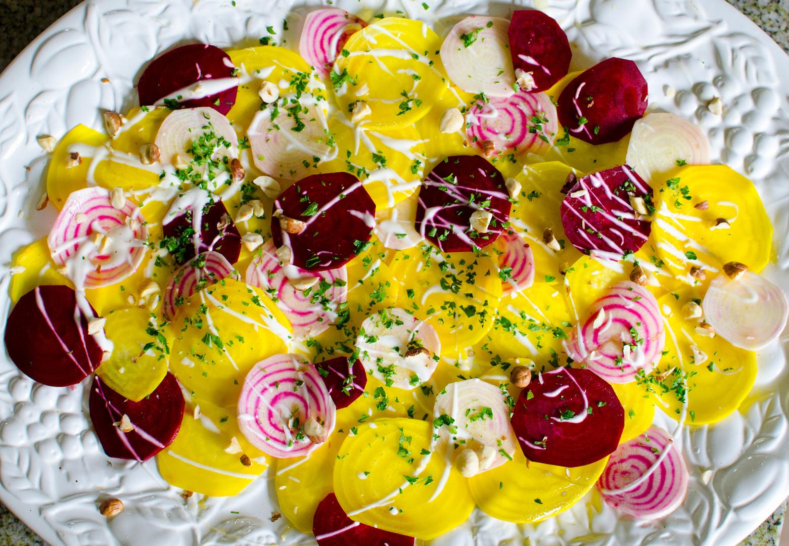 Marinated Beet Salad with Hazelnuts, Herbs, Mascarpone Dressing
