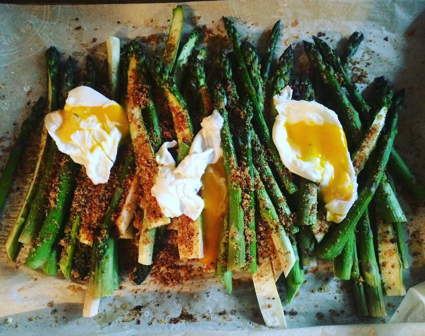 Fat Asparagus with Poached Eggs and Lemony Breadcrumbs