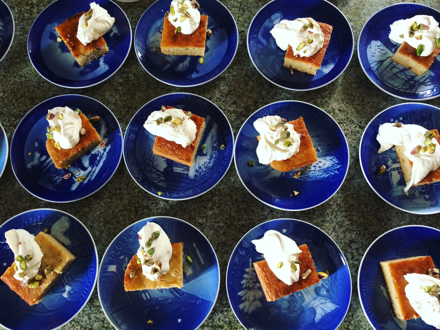 Semolina Honey Cake with Pistachios and Whipped Cream