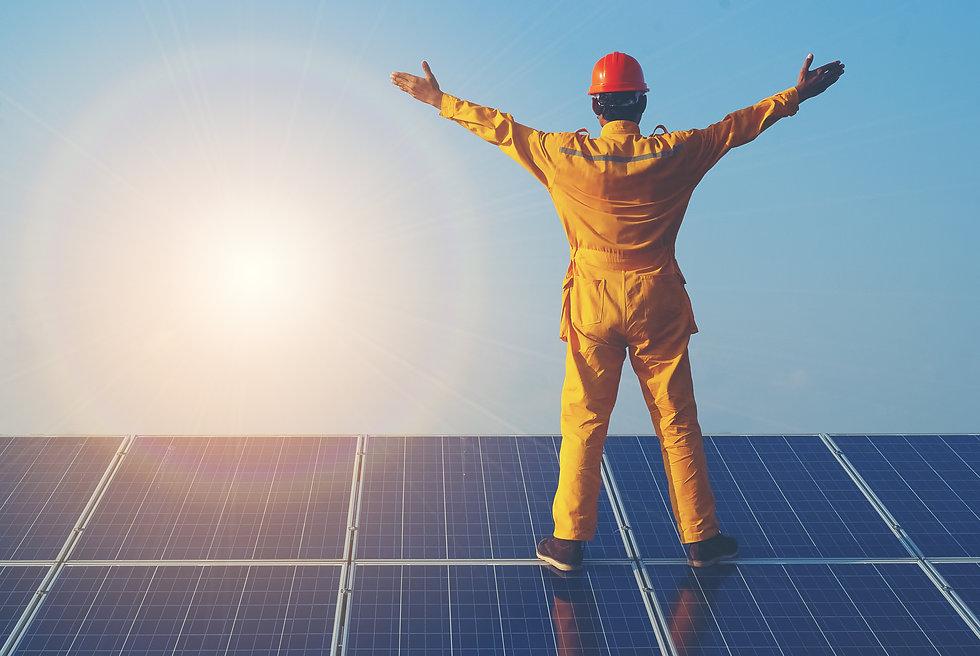 Engineers checking solar panels setup, s