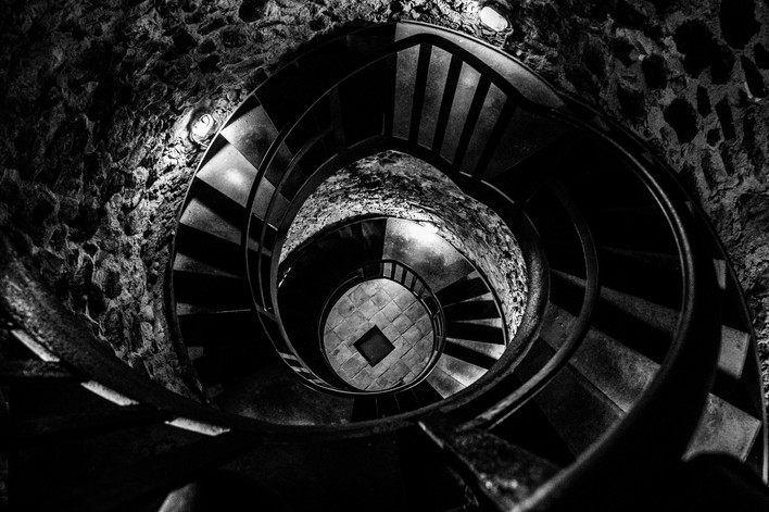 Spiral staircase at Hostalric (Spain)