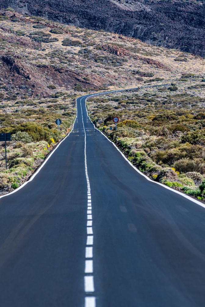 Road at Teide National park - Tenerife - Canary Islands (Spain)