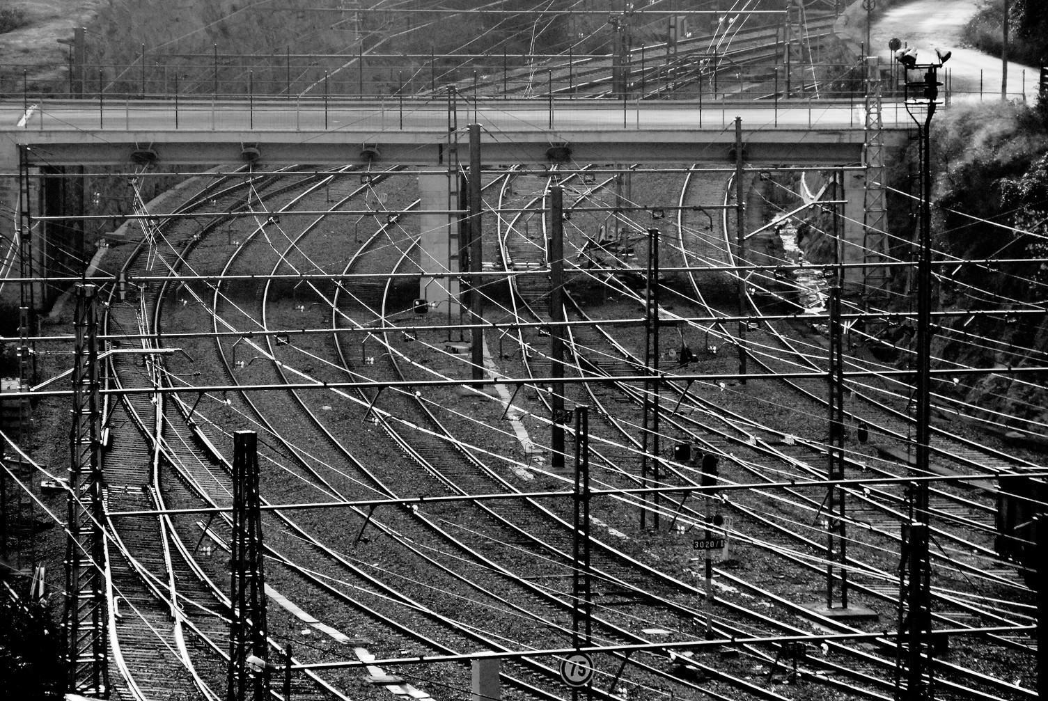 Train tracks jam at Manresa (Spain)