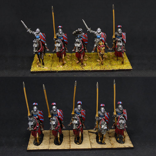 Medieval mounted knights - Red & Blue