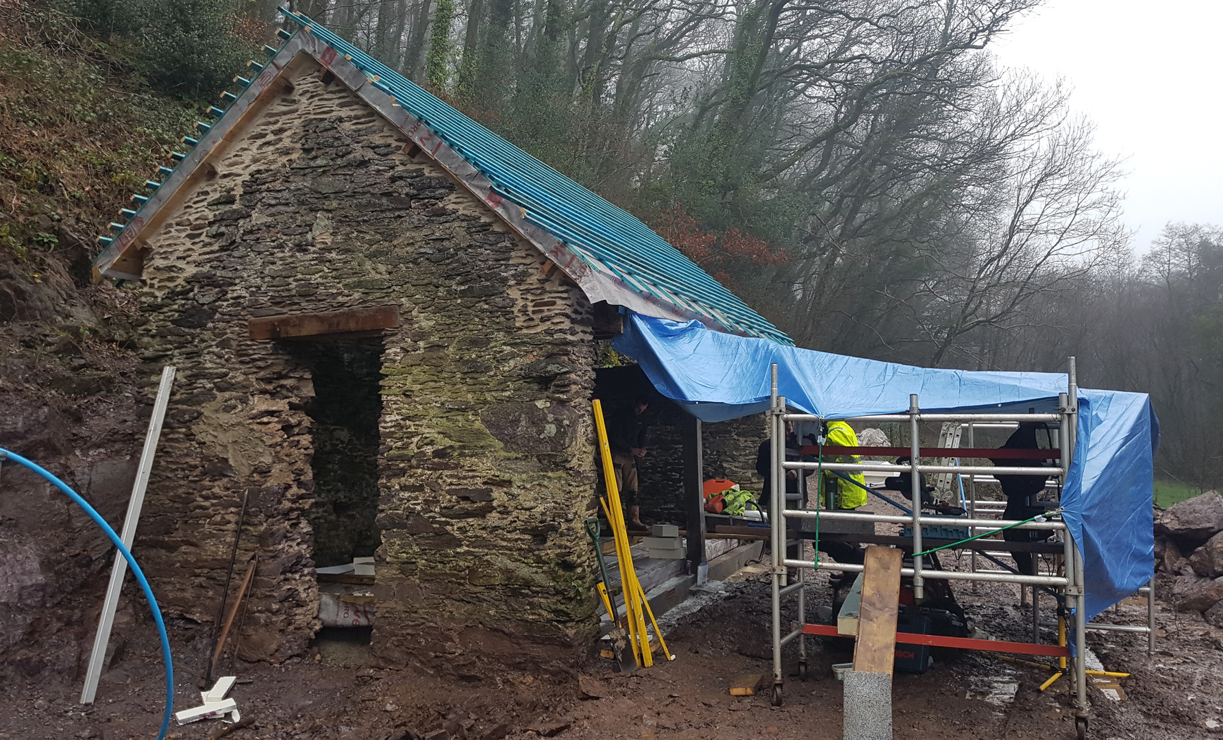 Jan 2018 - Roof on, awaiting the slates...
