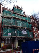 Scaffold tower in Hampstead, North London