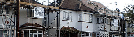 Scaffolding of semi detached houses in St Albans, Herts