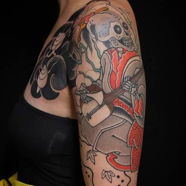 skeleton sleeve tattoo