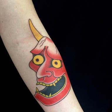 red Hannya mask tattoo