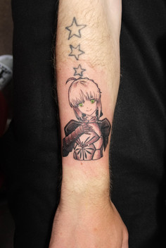 Manga face tattoo