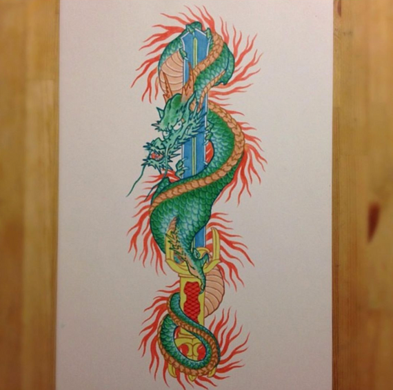 color dragon painting