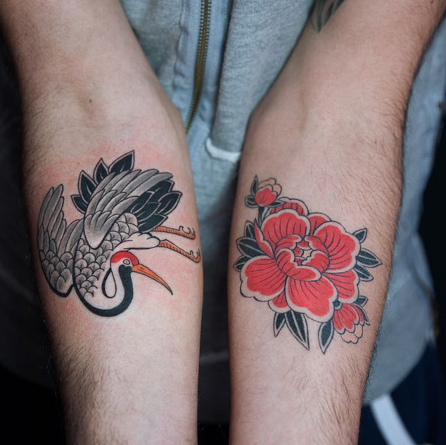 peony flower and paper crane tattoo