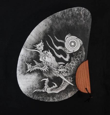 Dragon painting fan