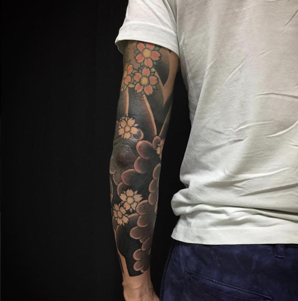 Sakura sleeve tattoo