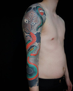 snake and hannya mask tattoo
