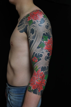 Peony sleeve tattoo