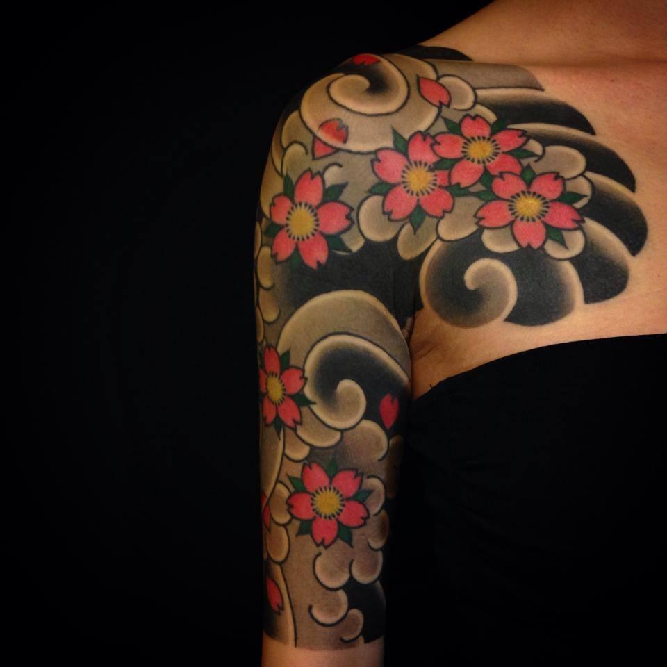 Sakura sleeve tattoo girl