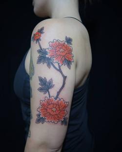 Peony tattoo japanese