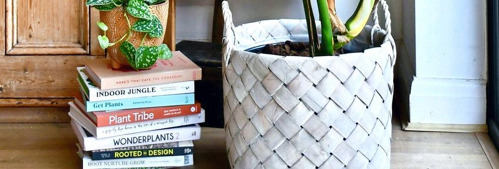 Natural Basket Planter - Grey
