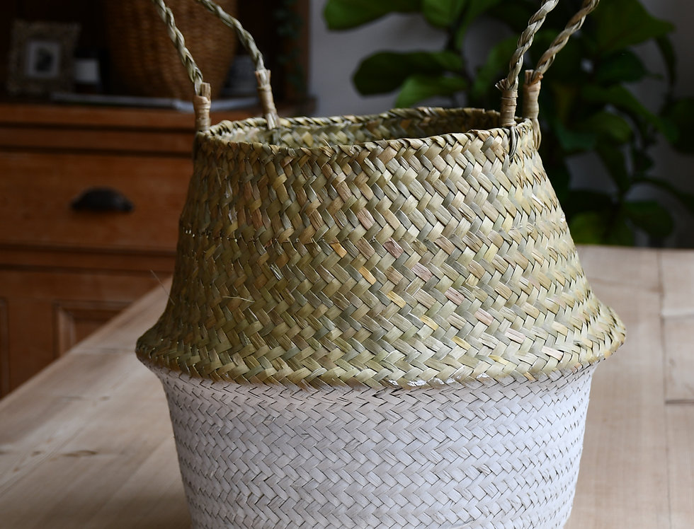 White Seagrass Planter