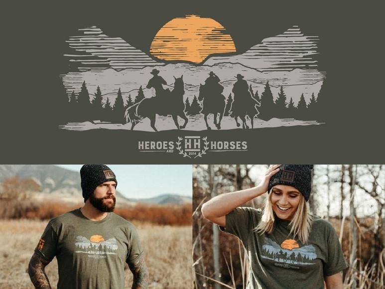 Western Illustration T-Shirt Apparel Design