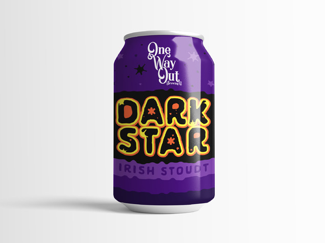 One Way Out Brew Co. Dark Star Beer Can Design