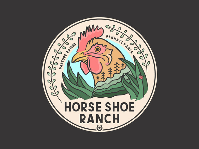 Horse Shoe Ranch Rooster Badge Sticker