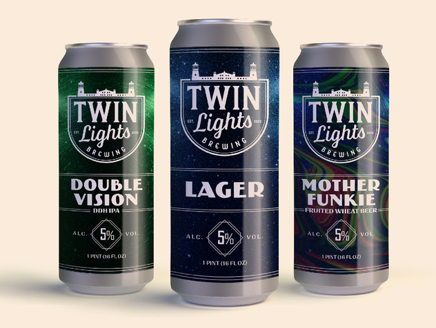 Twin Lights Brewing Beer Can Label Design
