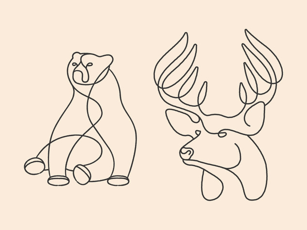 Lineart Bear & Whitetail deer