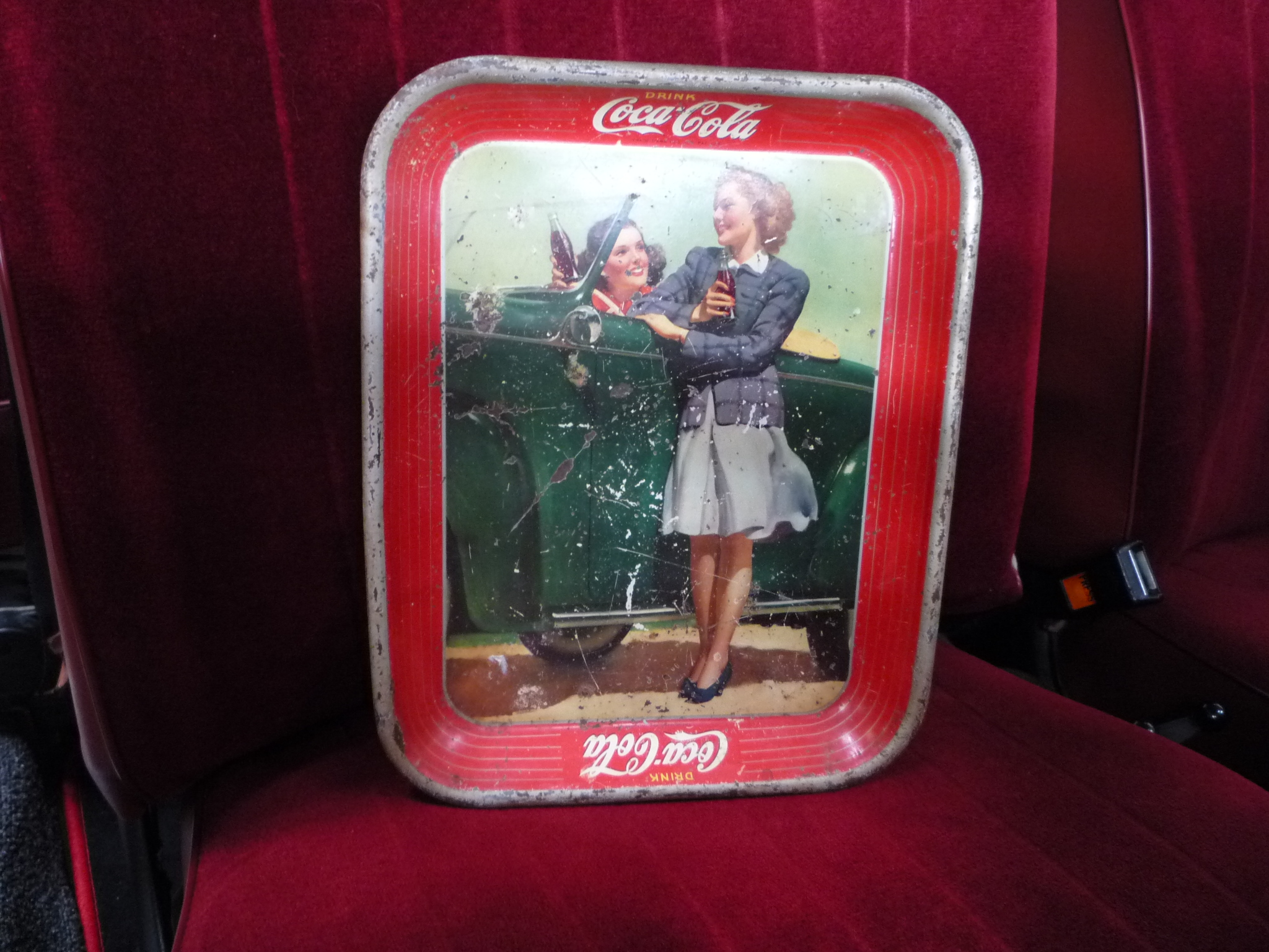 "Coca-Cola Tray ""Two Girls at Car"""