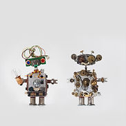 Futuristic robots on gray background. Fr
