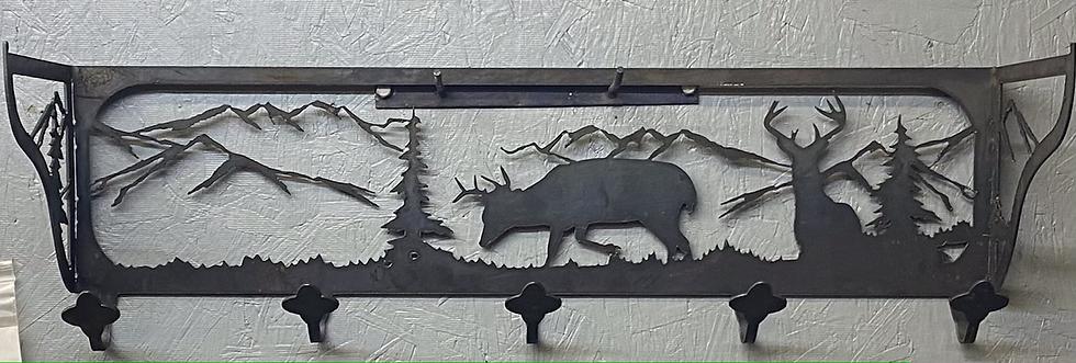 Steel coat/hat rack with deer silhouette