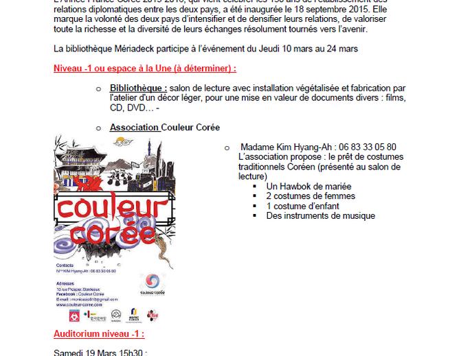 Affiche des ateliers à la bibliothèque de Mériadeck à l'occasion de l'année de la Corée en France en 2016