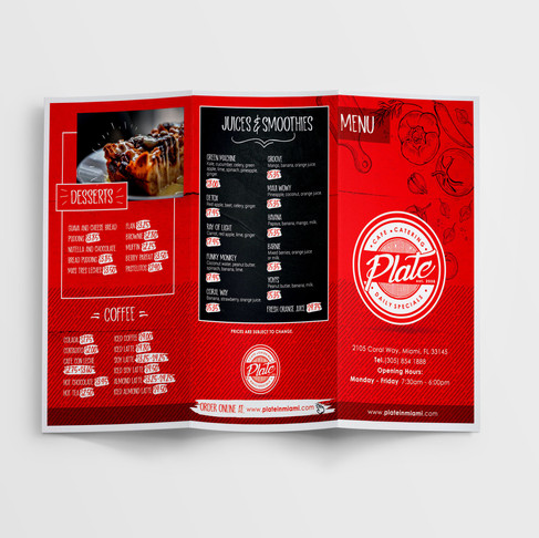 Restaurant Menu Trifold Design & Print