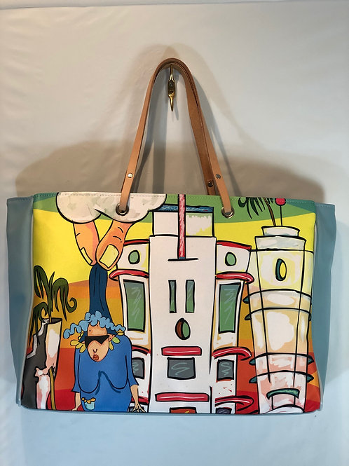 South Beach 1987  | Leather trim Handbag