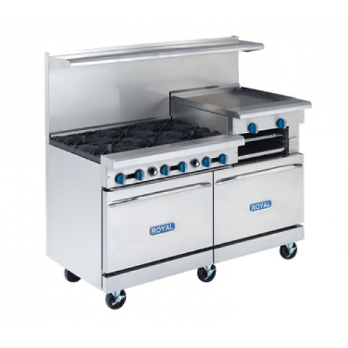 NEW ROYAL RANGE 60'', 6 BURNERS,24 GRIDDLE M-RR-6RG24