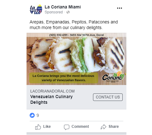 La Coriana Miami | Facebook Ads