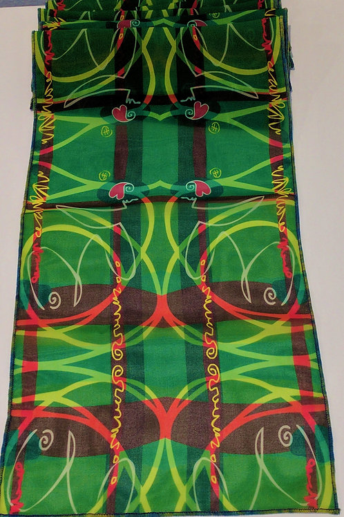 "Green Red Stripe | Scarf | 8""w x 70""l 