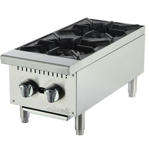 """Migali 2 Burners, 12"""" Wide Counter-top Hot Plate C-HP-2-12"""
