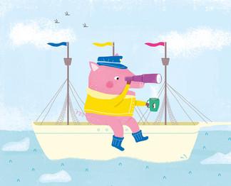 """Ilustracion para merchandising """"Antarctic Pig"""""""