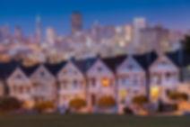 Alamo Square at twilight, San Francisco_